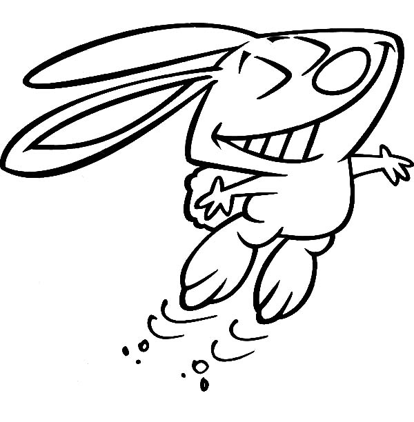 Hopping Bunny, : Big Grin Hopping Bunny Coloring Pages