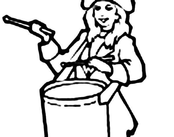 Drummer Boy, : Boy Play the Drum on the Independence Day Coloring Pages
