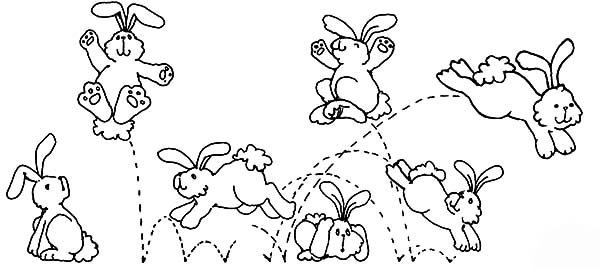 Hopping Bunny, : Bunny Hopping Everywhere Coloring Pages