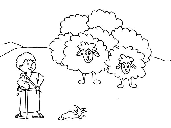 Cartoon David The Shepherd Boy Coloring Pages Kids Play Color