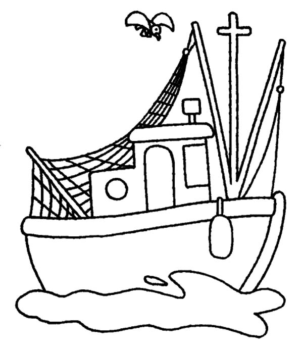 Fishing Boat, : Cartoon Fishing Boat Coloring Pages