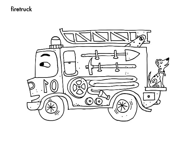Fire Engine, : Cartoon Picture of Fire Engine Coloring Pages