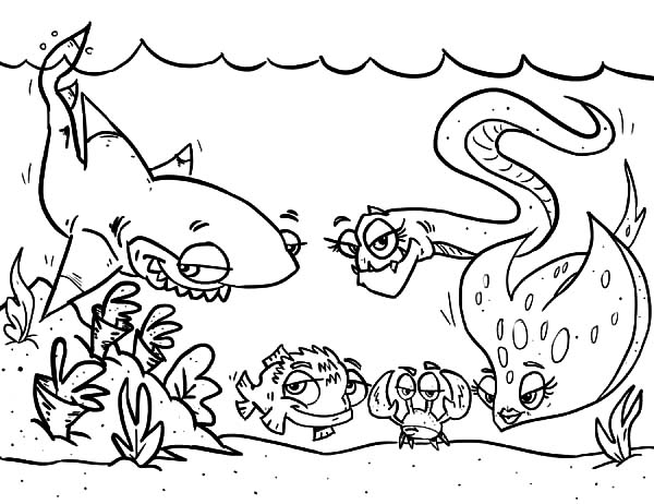 Coral Reef Fish, : Cartoon of Coral Reef Fish Coloring Pages