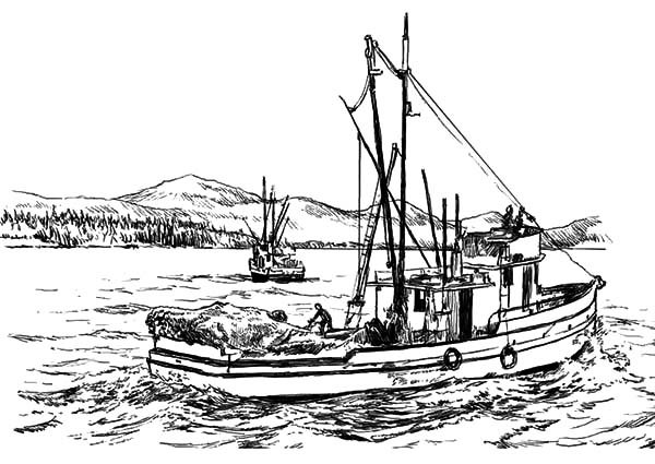 Fishing Boat, : Catching Fish in the Sea with Fishing Boat Coloring Pages