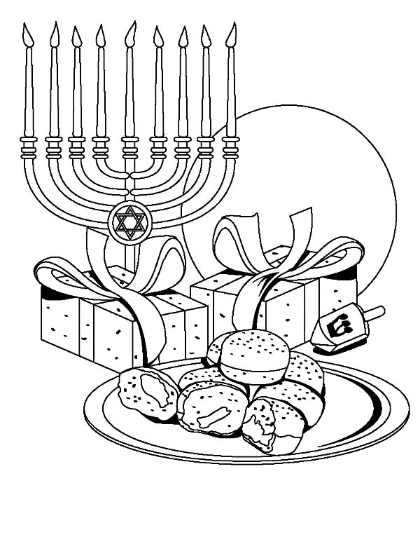 Kinara, : Chanuka Symbols Kinara Coloring Pages