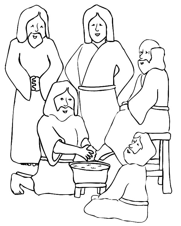 Kindness, : Christmas Kindness Washing Jesus Feet Coloring Pages