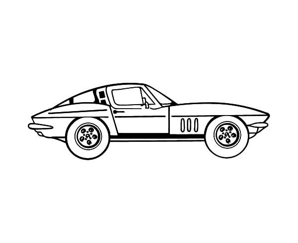 Corvette Cars, : Classic Design Corvette Cars Coloring Pages