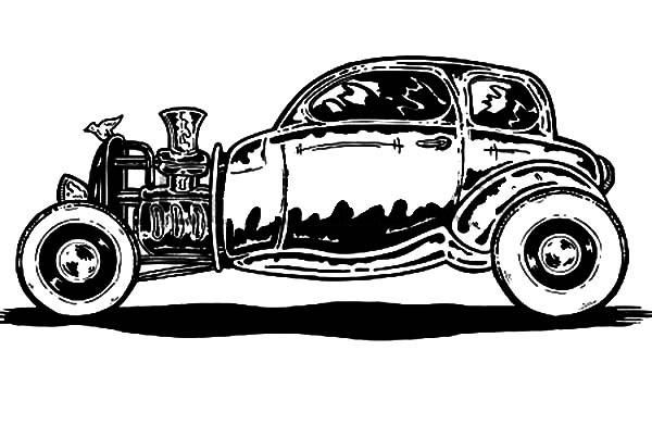 Hot Rod Cars, : Classic Style Hot Rod Cars Coloring Pages