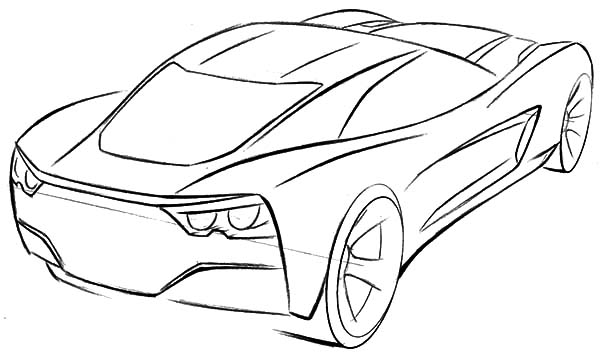 Corvette Cars, : Corvette Sport Cars Coloring Pages