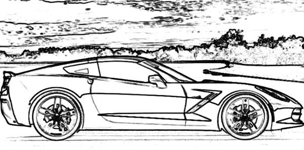 Corvette Cars, : Corvette Stringray C7 Cars Coloring Pages
