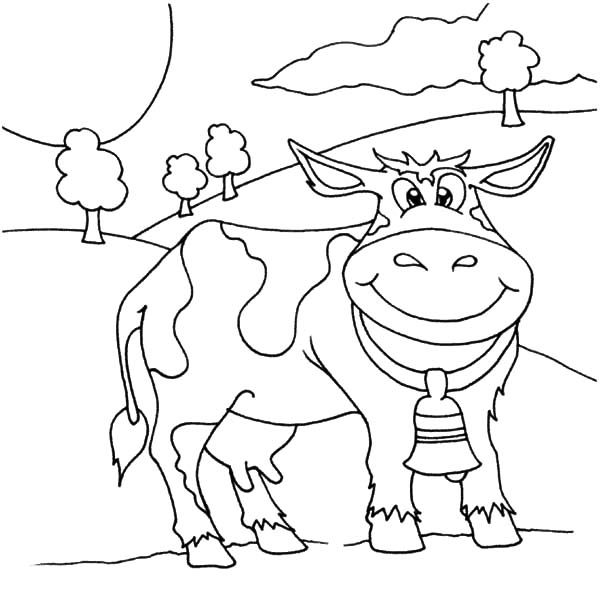Cows, : Cows Bell Ringing Coloring Pages