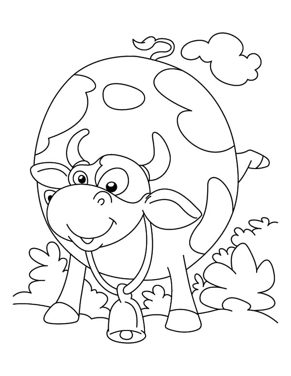 Cows, : Cows Round Body Coloring Pages