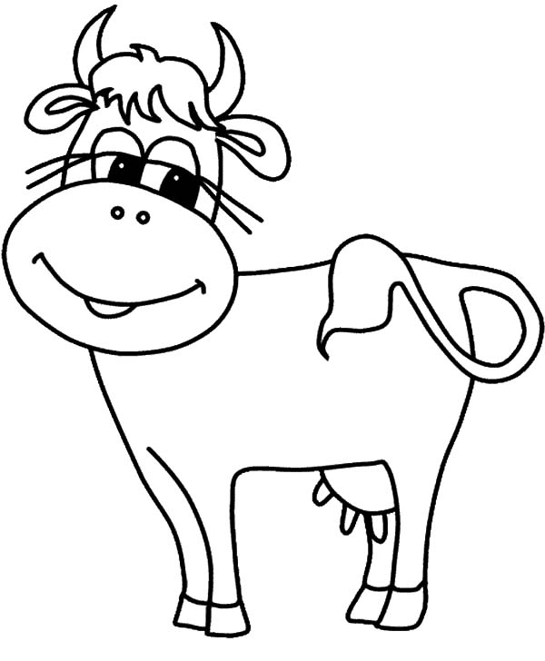 Cows, : Cows Waggle Tail Coloring Pages