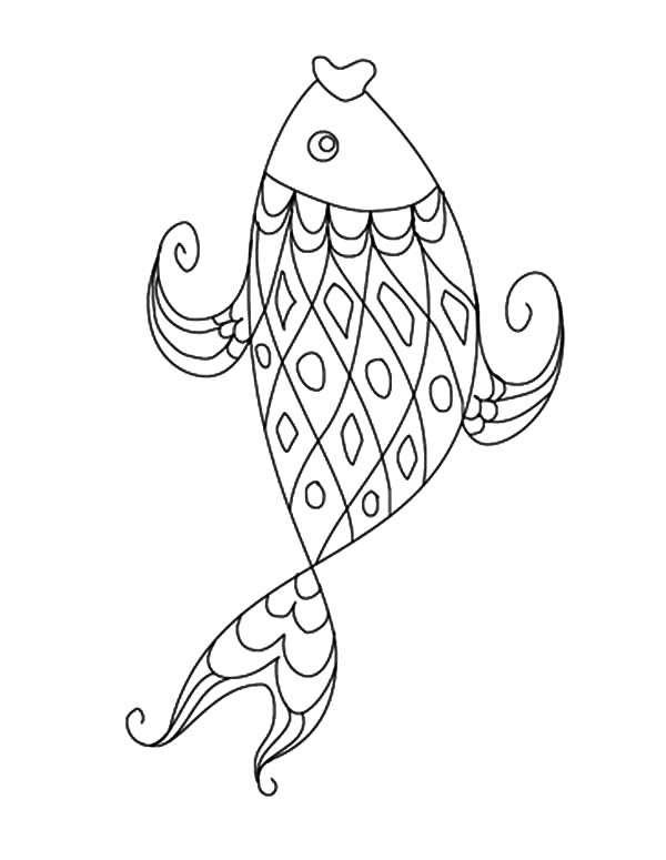 Coy Fish, : Coy Fish Illustration Coloring Pages