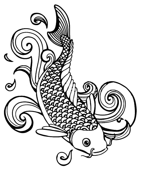 Coy Fish, : Coy Fish Splashing Water Coloring Pages