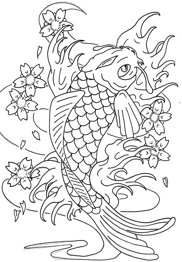 Coy Fish, : Coy Fish Swim Between Lotus Coloring Pages