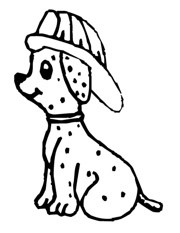 Fire Dog, : Cute Fire Dog Sitting Down Coloring Pages