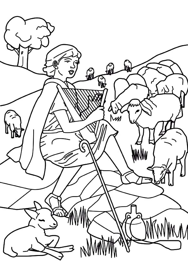 David The Shepherd Boy, : David the Shepherd Boy Beautiful Voice Coloring Pages