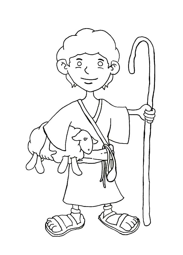 David The Shepherd Boy, : David the Shepherd Boy Coloring Pages for Kids