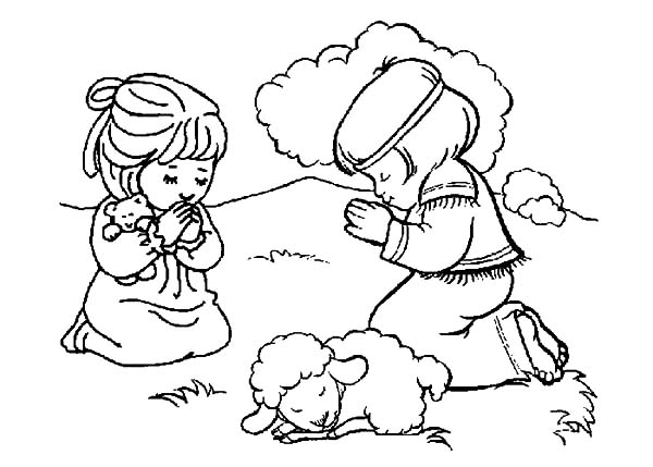 David The Shepherd Boy, : David the Shepherd Boy Praying Together Coloring Pages