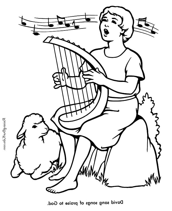 David The Shepherd Boy Sing A Song Praise To God Coloring Pages