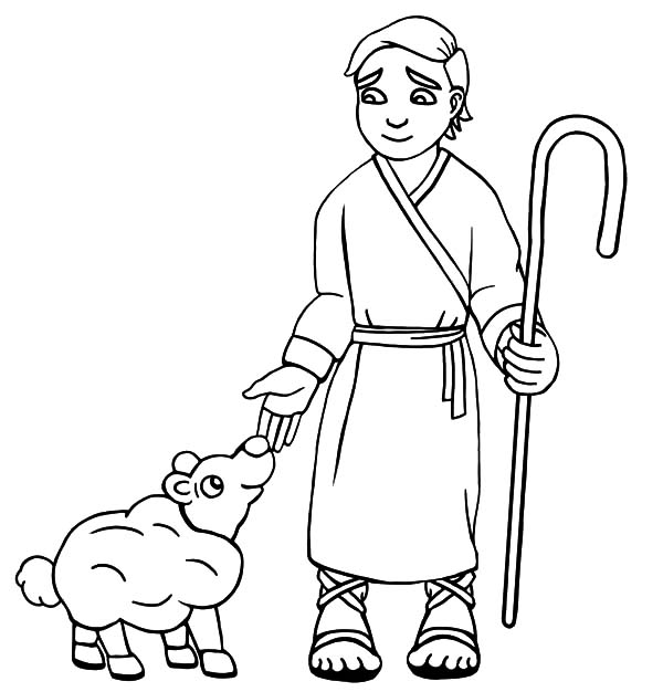 David The Shepherd Boy, : David the Shepherd Boy Take Care His Sheep with Love Coloring Pages