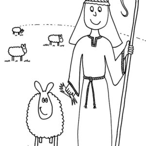 David The Shepherd Boy Hold His Sheep Coloring Pages ...