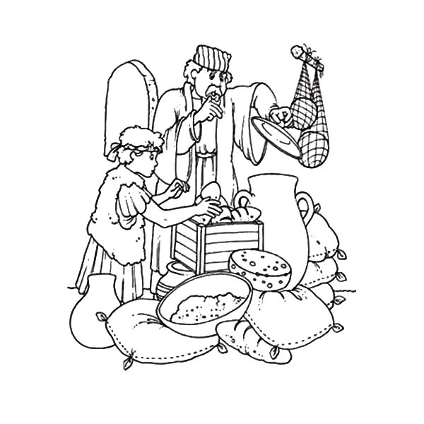 David The Shepherd Boy, : David the Shepherd Boy Want to Eat Some Bread Coloring Pages