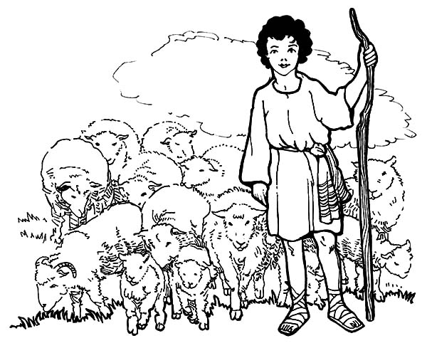 David The Shepherd Boy, : David the Shepherd Boy and His Sheeps Coloring Pages