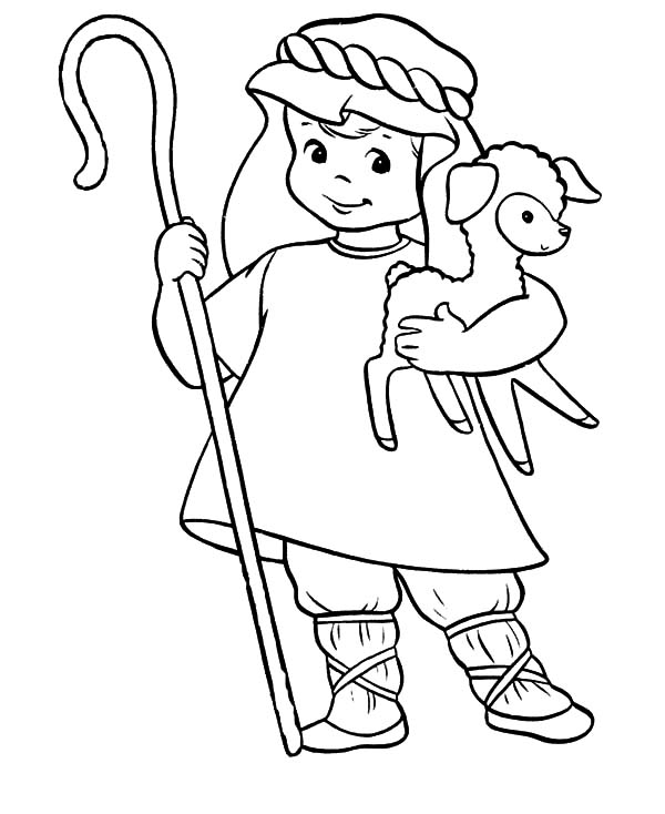 This is a graphic of Stupendous David The Shepherd Coloring Page