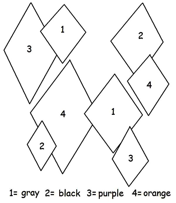 Diamond Shape, : Diamond Shape Color by Number Coloring Pages