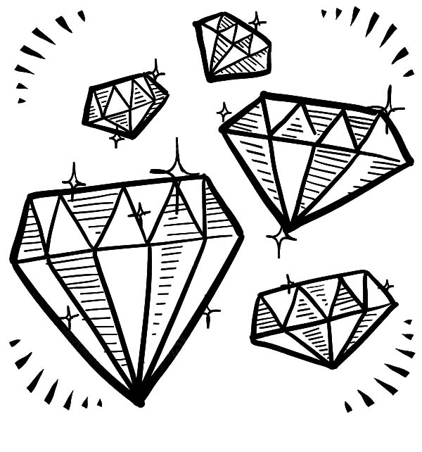 coloring pages diamonds | Diamond Shape Gem Sketches Coloring Pages : Kids Play Color