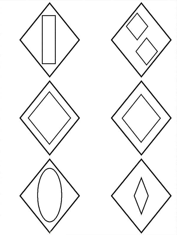 Diamond Shape, : Diamond Shape Group Coloring Pages