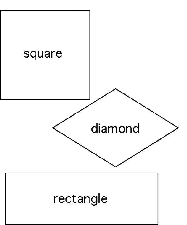 Diamond Shape, : Diamond Shape Square and Retangle Coloring Pages