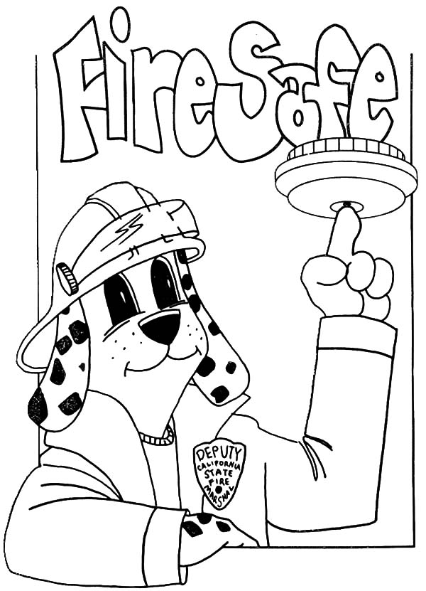 Fire Dog, : Dog Point at Fire Safe Bell Coloring Pages