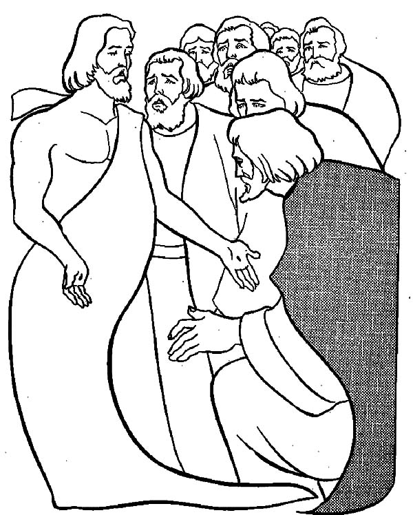 Doubting Thomas, : Doubting Thomas Gather with Other Apostles Coloring Pages