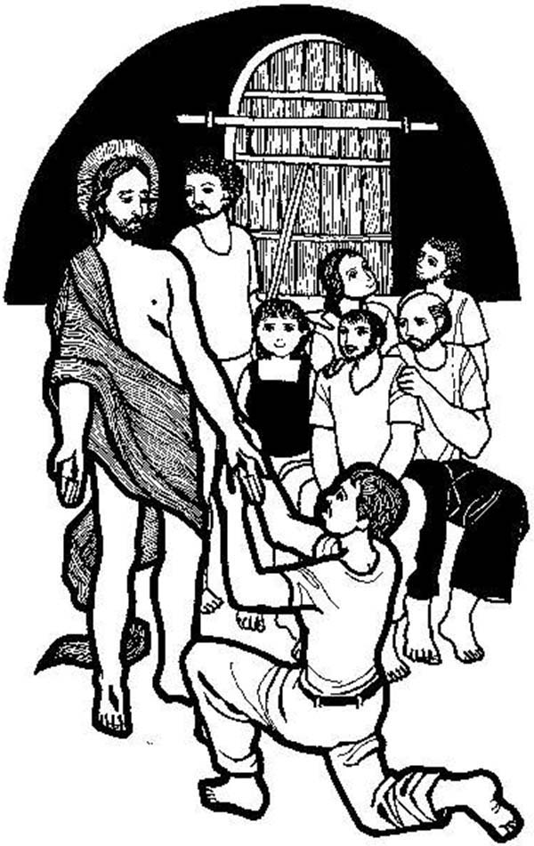 Doubting Thomas Holding Jesus Hand Coloring Pages Kids