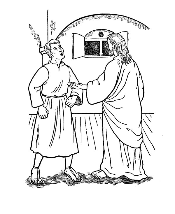 Doubting Thomas, : Doubting Thomas Want to Prove What Jesus Said to Him Coloring Pages