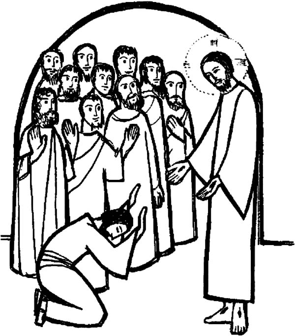 Doubting Thomas, : Doubting Thomas Worship Jesus Coloring Pages