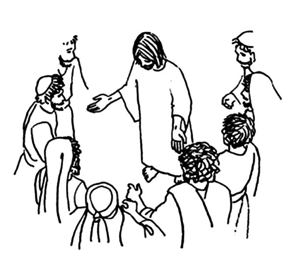 Doubting Thomas, : Doubting Thomas and Other Apostle Gather Surround to Jesus Coloring Pages