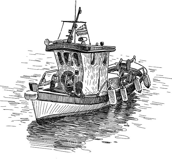 Fishing Boat, : Drawing Fishing Boat Coloring Pages