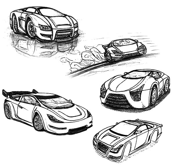 Drifting Cars, : Drifting Cars Sketches Coloring Pages