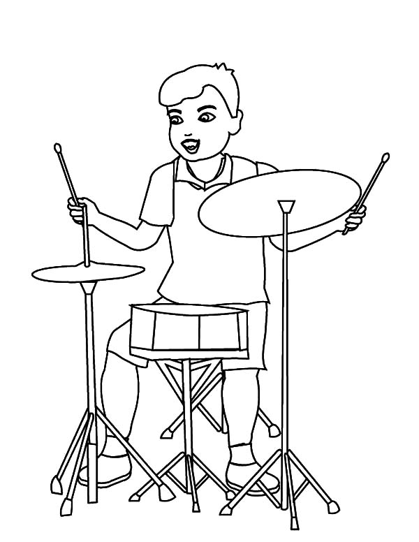 Drummer Boy, : Drummer Boy Facing Simple Drum Set Coloring Pages