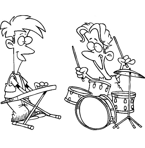 Drummer Boy, : Drummer Boy Jamming with Friend Playing Keyboard Coloring Pages