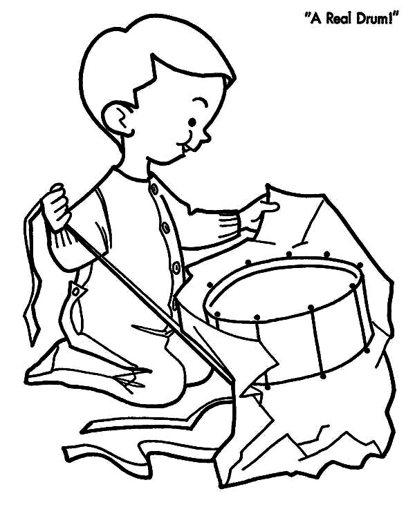 Drummer Boy, : Drummer Boy Open His Christmas Present Coloring Pages