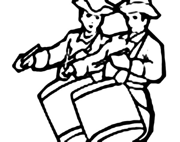 Drummer Boy, : Drummer Boy Play Drum Together Coloring Pages