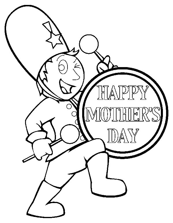 Drummer Boy, : Drummer Boy Play Drum to Celebrate Mother Day Coloring Pages