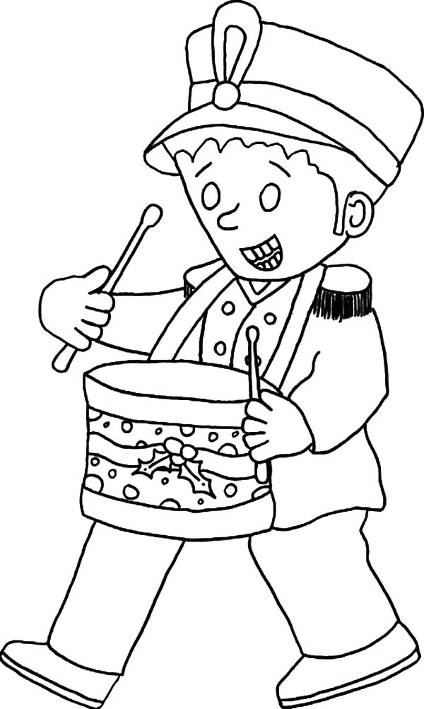 Drummer Boy, : Drummer Boy Wear Officer Uniform Coloring Pages