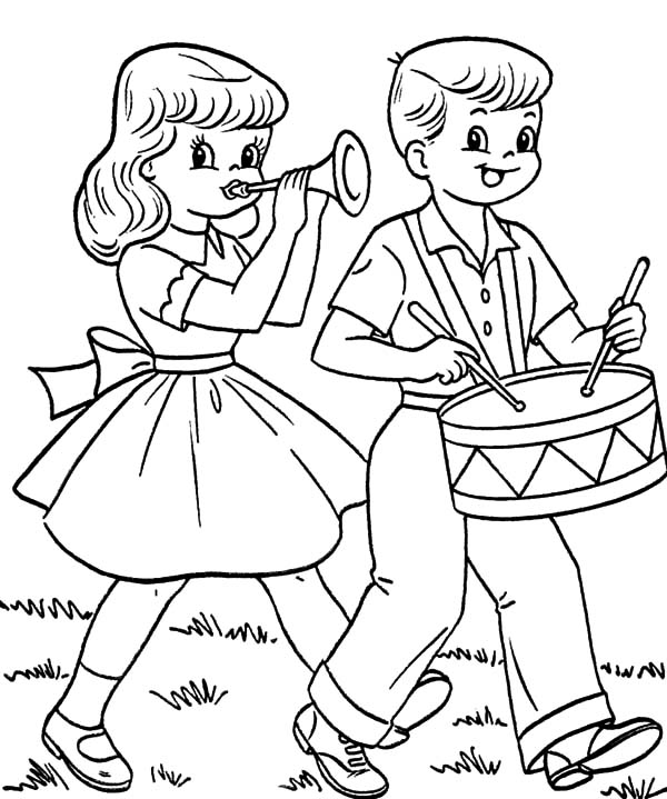 Drummer Boy, : Drummer Boy and Girlfriend in Fourth of July Coloring Pages