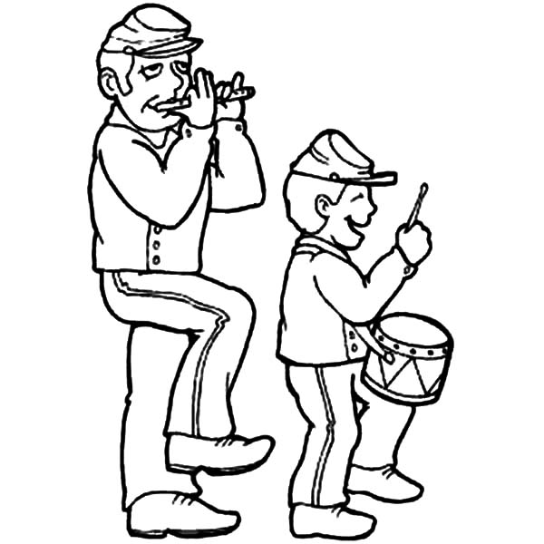 Drummer Boy, : Drummer Boy and His Father Coloring Pages